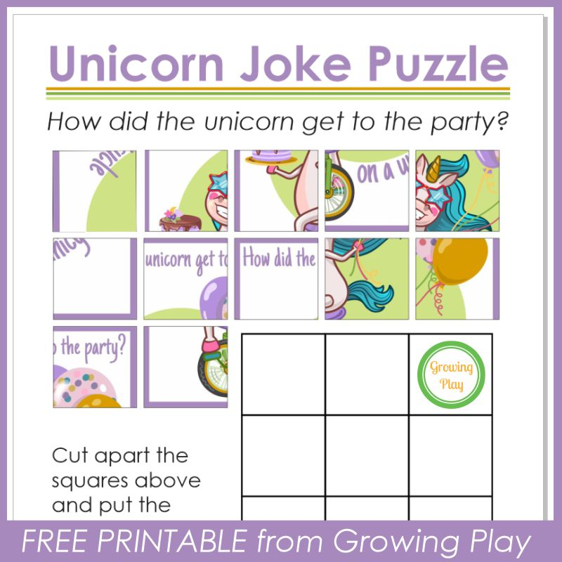 Unicorn Joke Puzzle from Growing Play