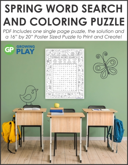 """Challenge your students with this oversized Spring Word Search Printable. Use the one page puzzle or make the 16"""" by 22"""" poster."""