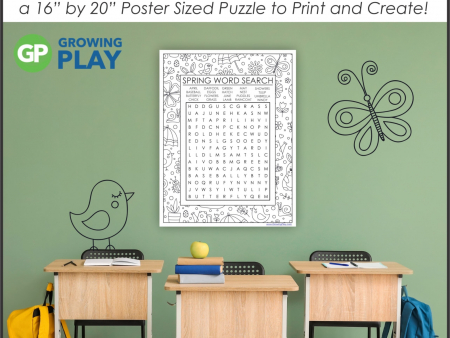 "Challenge your students with this oversized Spring Word Search Printable. Use the one page puzzle or make the 16"" by 22"" poster."