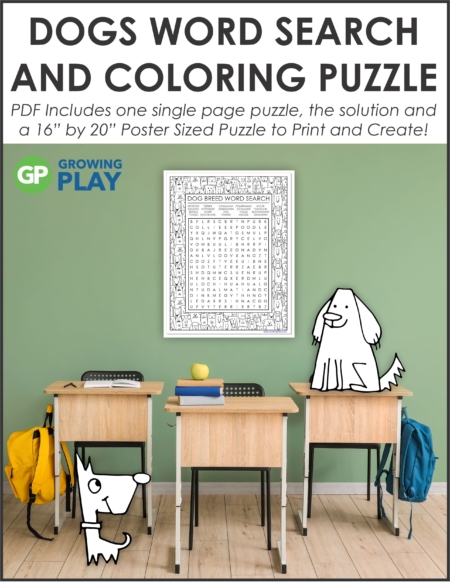 "Challenge your students with this oversized Dog Word Search Puzzle Printable. Use the one page puzzle with SOLUTION or make the 16"" by 22"" poster."