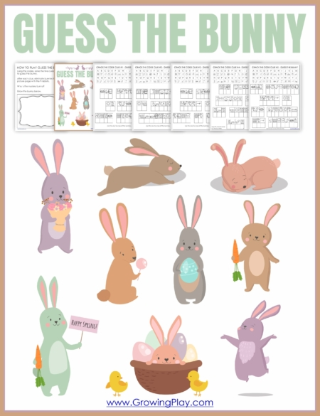 Can you Guess the Bunny? Decipher the 5 rabbit clues and guess the bunny! Download this fun game today from Growing Play!