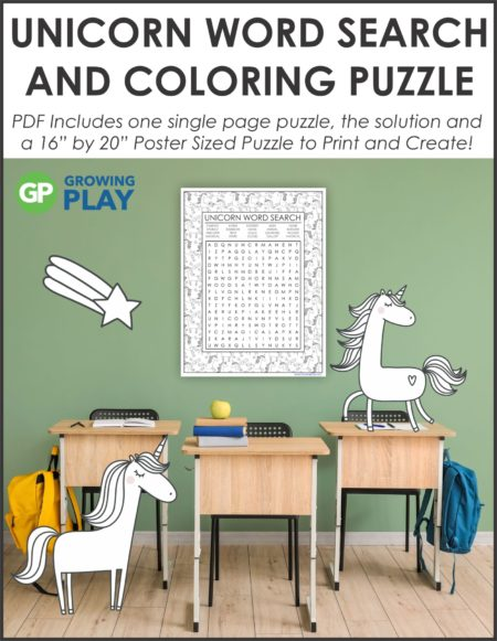 Challenge your students with this oversized Unicorn Word Search Puzzle Printable. Use the one page puzzle with SOLUTION or make the 16″ by 22″ poster.