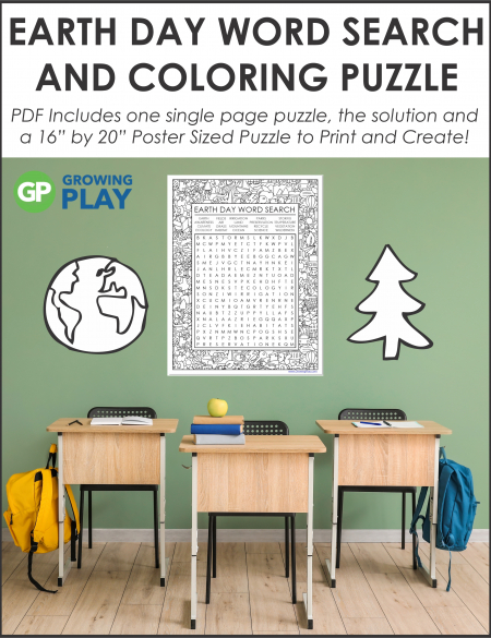 Challenge your students with this oversized Earth Day Word Search Printable Poster. Use the 1 page puzzle with SOLUTION or make a poster.