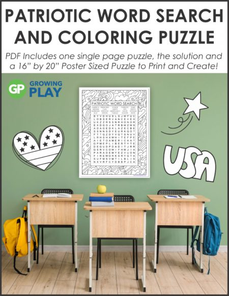 Challenge your students with this oversized Patriotic Word Search and Coloring Printable Poster from Growing Play.