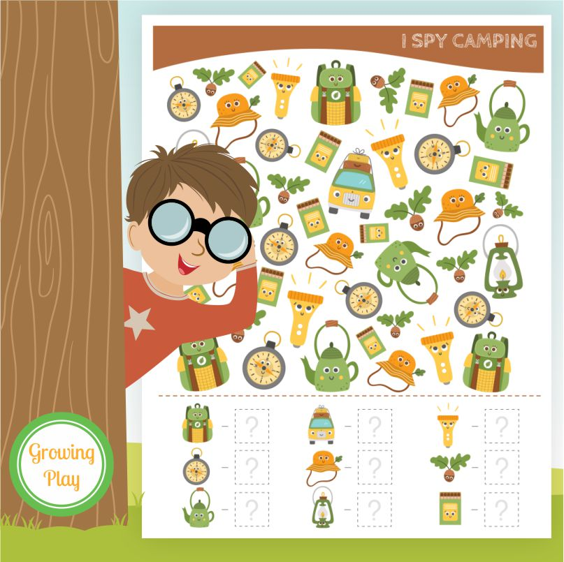 Here is a fun I Spy Camping printable to entertain the kids on rainy days or during your camp theme from Growing Play.