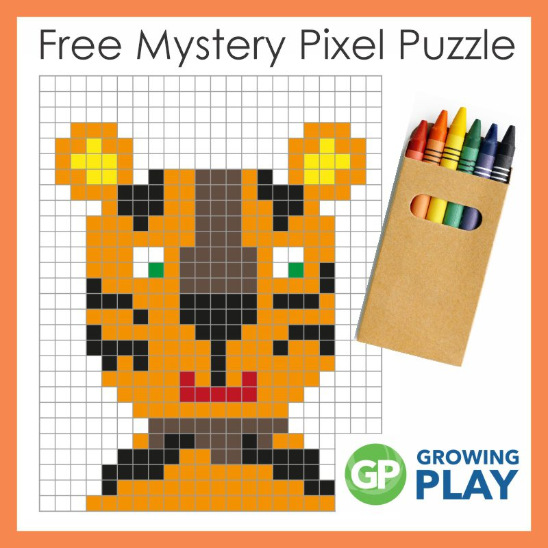 Recently, I added a pixel art tiger PDF that they could color in and print out. They had so much fun coloring it. Get your free copy.